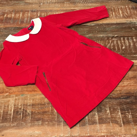 Red corduroy girls dress Gap size 4 with zippers